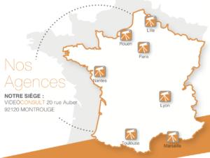 Agences en France VideoConsult - Carte de France avec les emplacements Lille, Nantes, Marseille, Rouen, Paris, Lyon, Toulouse